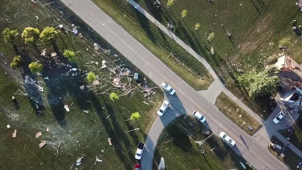 This drone video submitted by Brett Hoben shows the path of the tornado that damaged dozens of homes in Bondurant on July 19, 2018.