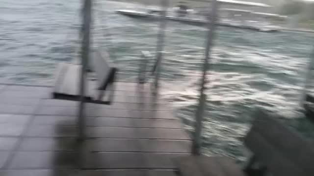 Lakeside Resort Restaurant and General Store shared a Facebok video showing gigantic waves slamming their boats during the storm on Thursday, July 19, 2018.