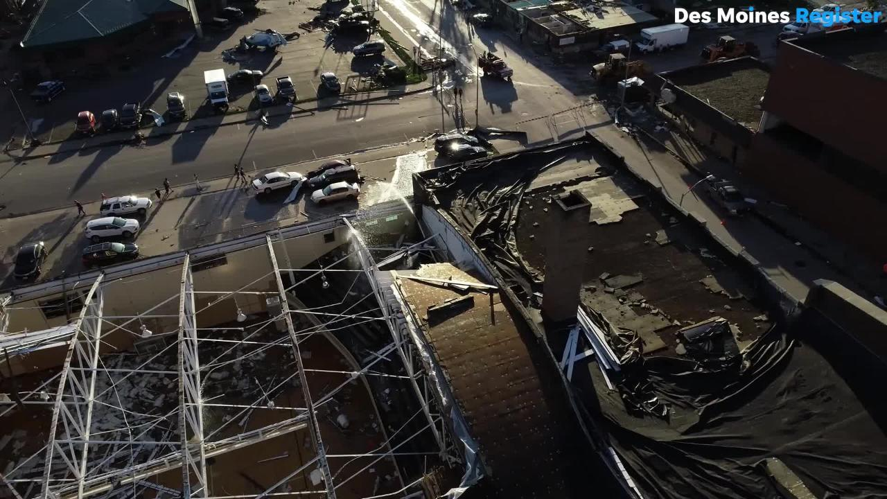 Drone video shows the extent of the damage around the square and coliseum after a tornado ripped through Marshalltown.