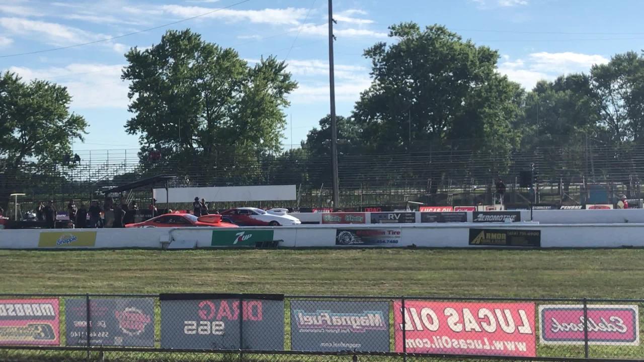 Long-time Pro Stock driver John Montecalvo, far lane, takes a test trip down the strip at National Trail Raceway on Thursday.