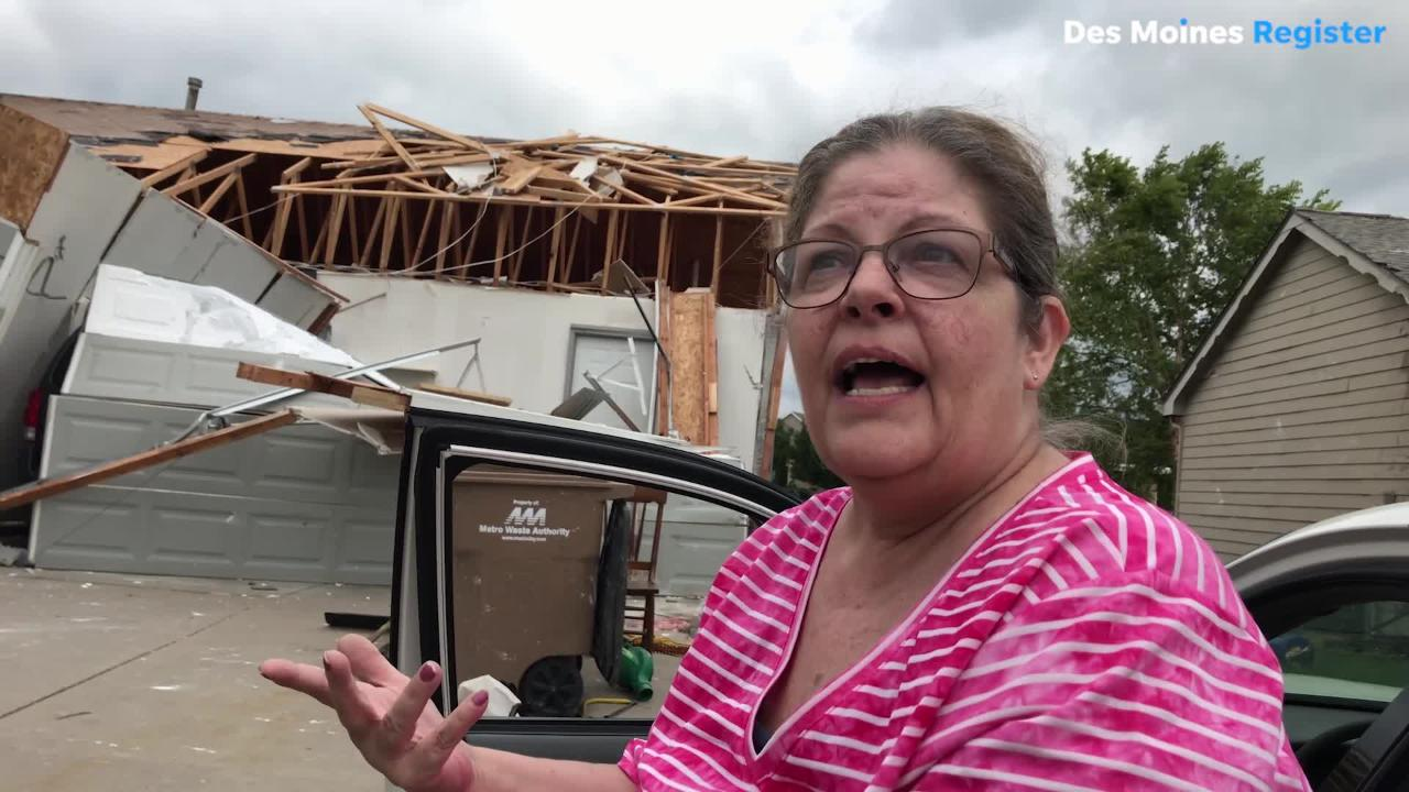 Susan Ratliff of Bondurant was heading for the basement when the tornado hit her home on Thursday, July 19.
