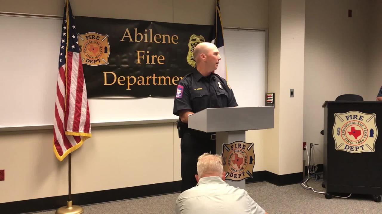 Michael Burden, Abilene Fire Department deputy fire chief, discusses at news conference on Friday, July 20, 2018 fatal fire that killed two people.