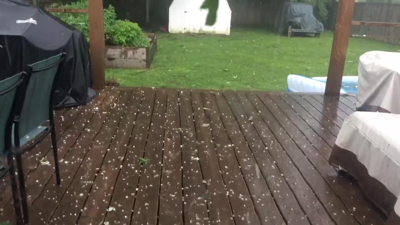Severe weather brought hail to the Camp Taylor neighborhood in Louisville on Friday afternoon