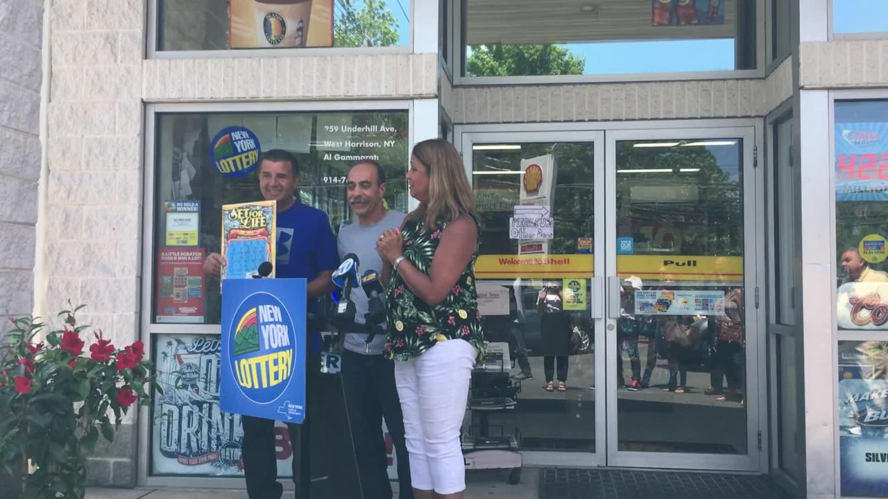 Friends from Westchester Dominick Belfiore and Salvatore Garro were presented with their ceremonial check for $5 million on Friday July 20 2018