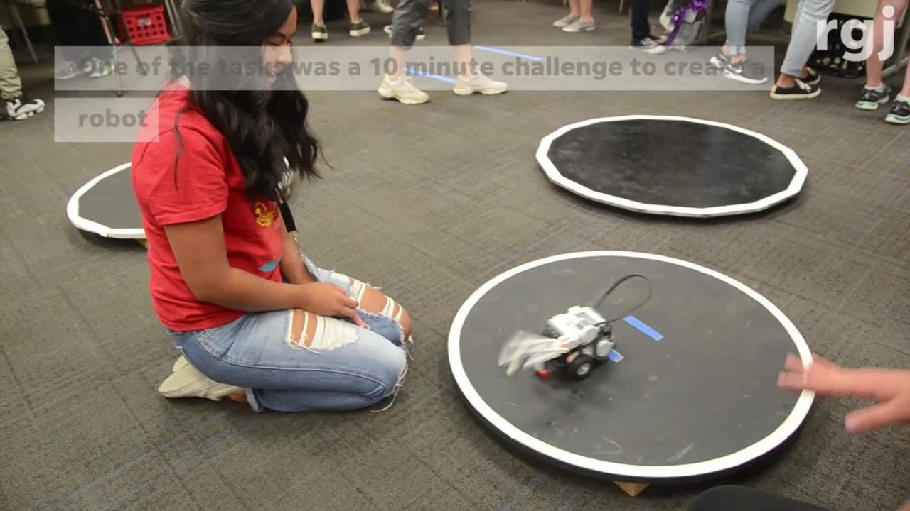 Teenage girls from Reno Nevada and elsewhere participated in a make a robot in 10 minute challenge.