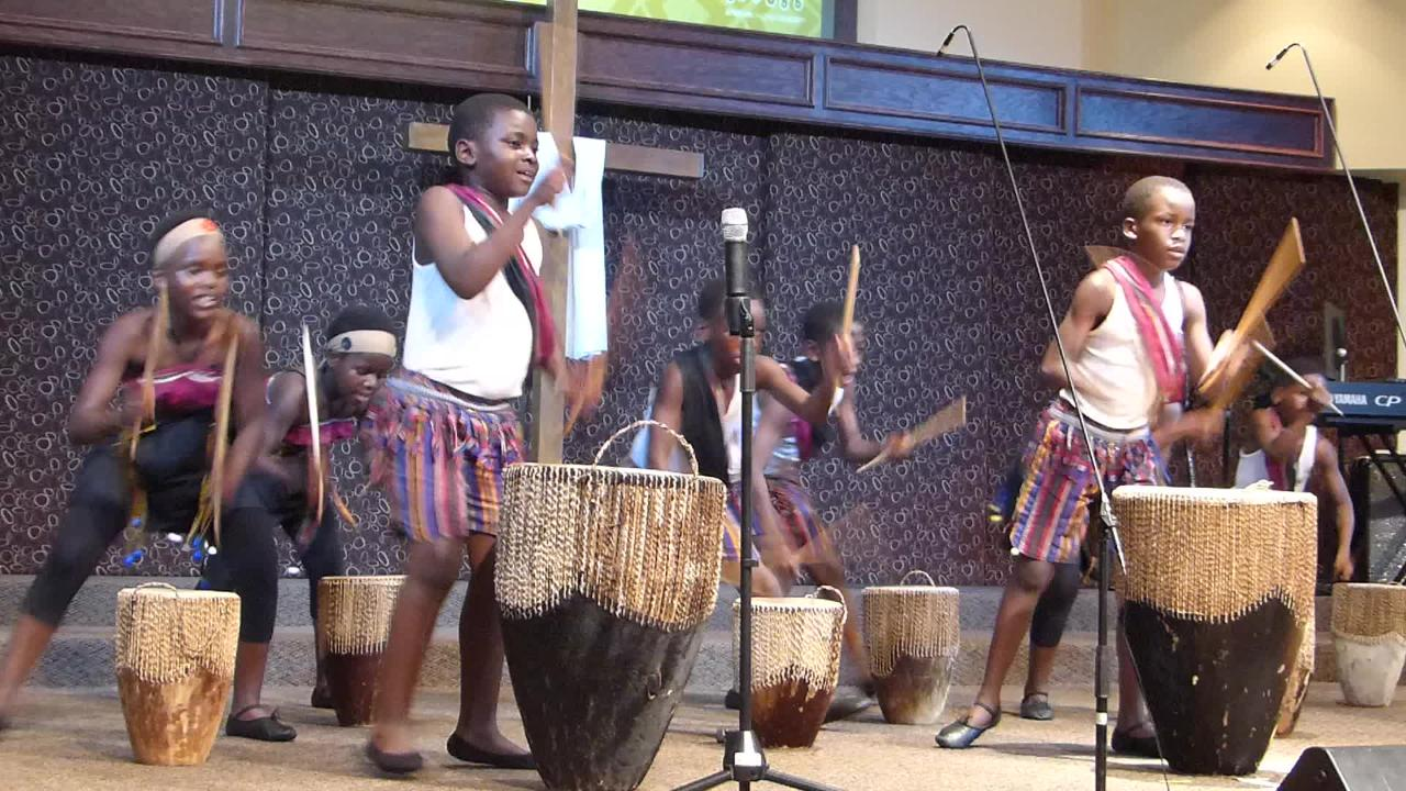 Drummers supplied the rhythm for the performance of the African Children's Choir at First Baptist Church in Ruidoso Friday