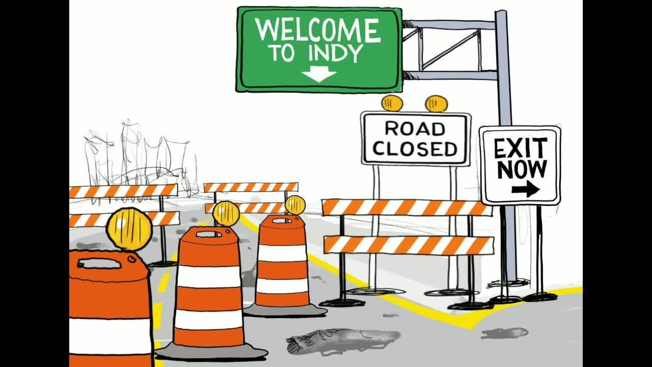 Watch Gary Varvel's time lapse video of his cartoon of Indy road repairs.