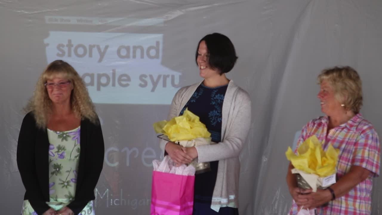 Three women vie for Homemaker of the Year at the 2018 Fowlerville Fair. Kimber Peach wins the honor.