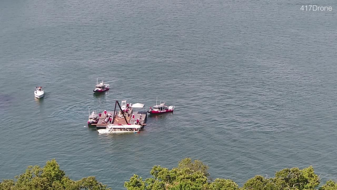 Drone footage of the Ride the Ducks boat being raised from 80 feet below Missouri lake