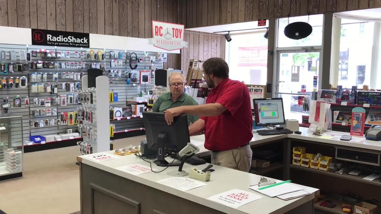 Video from inside Clinton Electronics in downtown St. Johns. The business, a Radio Shack dealership, is closing its doors after 37 years next month.