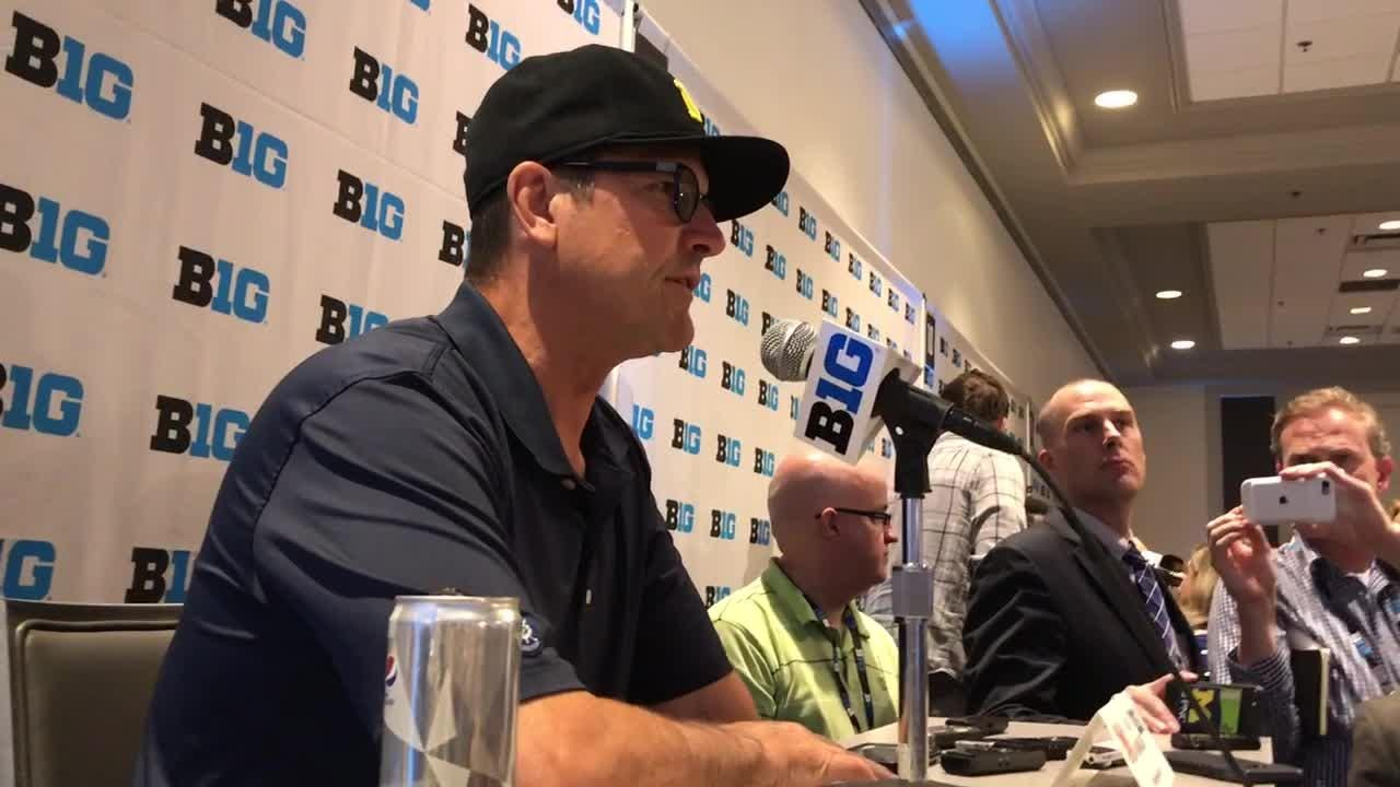 Michigan's Jim Harbaugh discusses rivalry struggles.