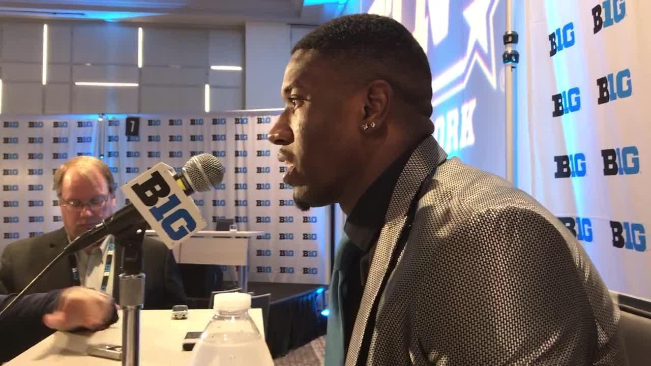 Michigan RB Karan Higdon speaks at Big Ten media days.