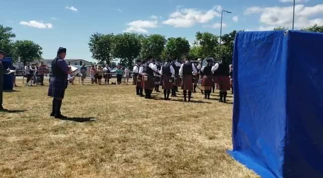 St. Columcille United Gaelic Pipe Band of Kearny now Grade 3B Champions at the 73rd Annual All Ireland Pipe Band Championships in New Ross, County Wexford, Saturday, July 7, 2018.
