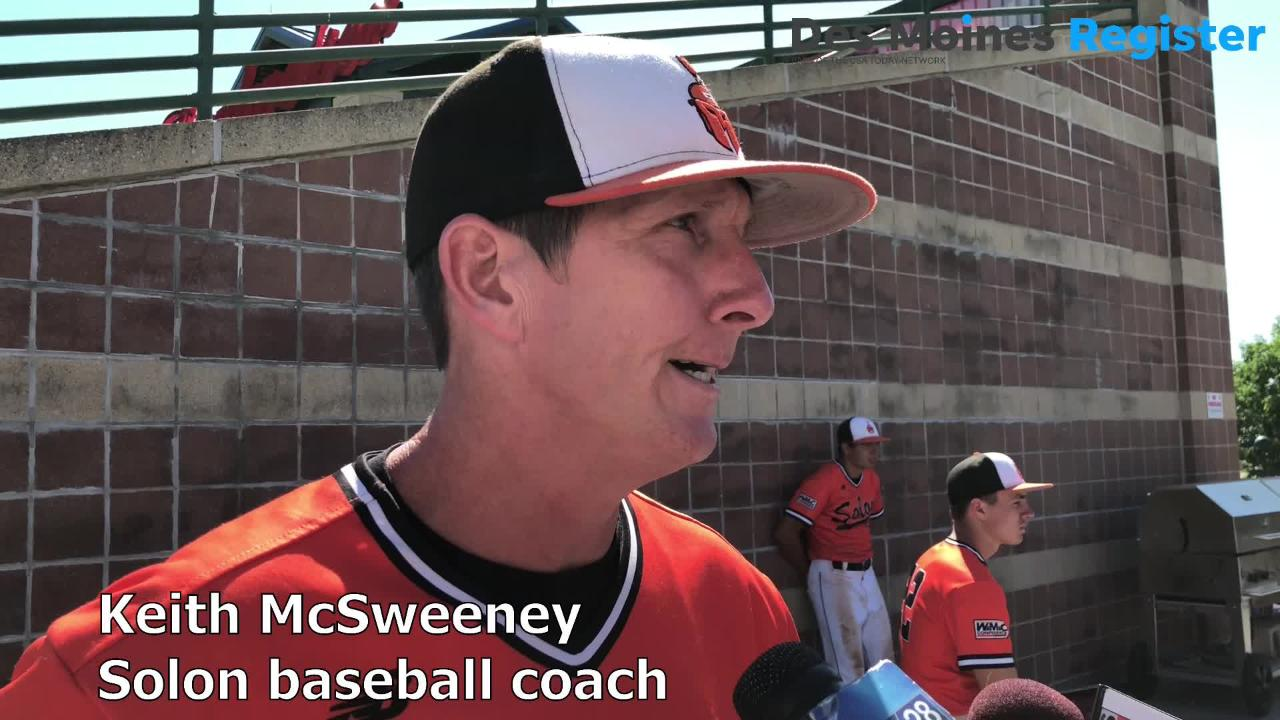 Solon baseball coach Keith McSweeney talks after the Spartans' 3-2 loss to Bishop Heelan in the Class 3A state quarterfinals on Tuesday.