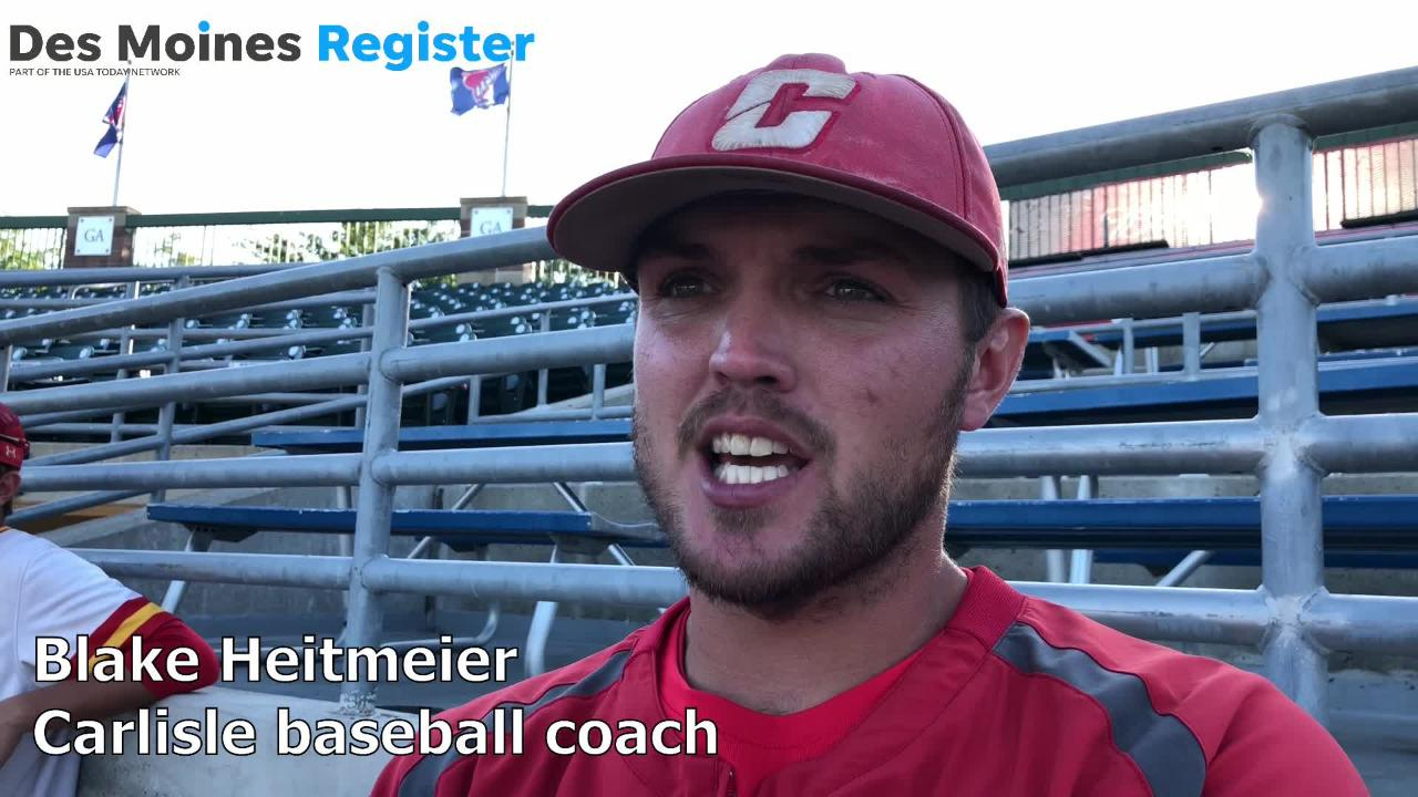 Blake Heitmeier, Carlisle's baseball coach, talks after the Wildcats lost to Waverly-Shell Rock, 8-5, in the Class 3A state quarterfinals.
