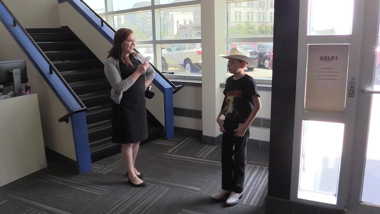 Mason Ramsey, the Yodeling Kid, sings a song at the Tennessean before his Wednesday GMA appearance in New York.