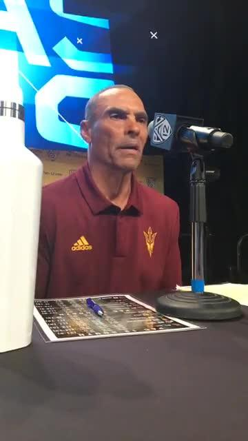 Arizona State coach Herm Edwards made his first appearance at Pac-12 media day.