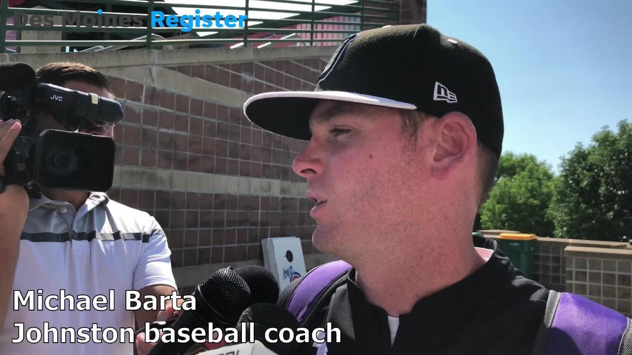 Johnston baseball coach Michael Barta talks after the Dragons lost to Cedar Rapids Washington on Wednesday at Principal Park.