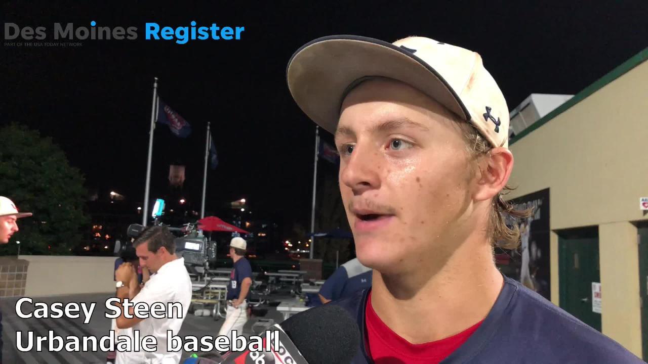 Casey Steen, Urbandale's starting second baseman, talks after the J-Hawk's 8-3 win over Marshalltown on Wednesday night.