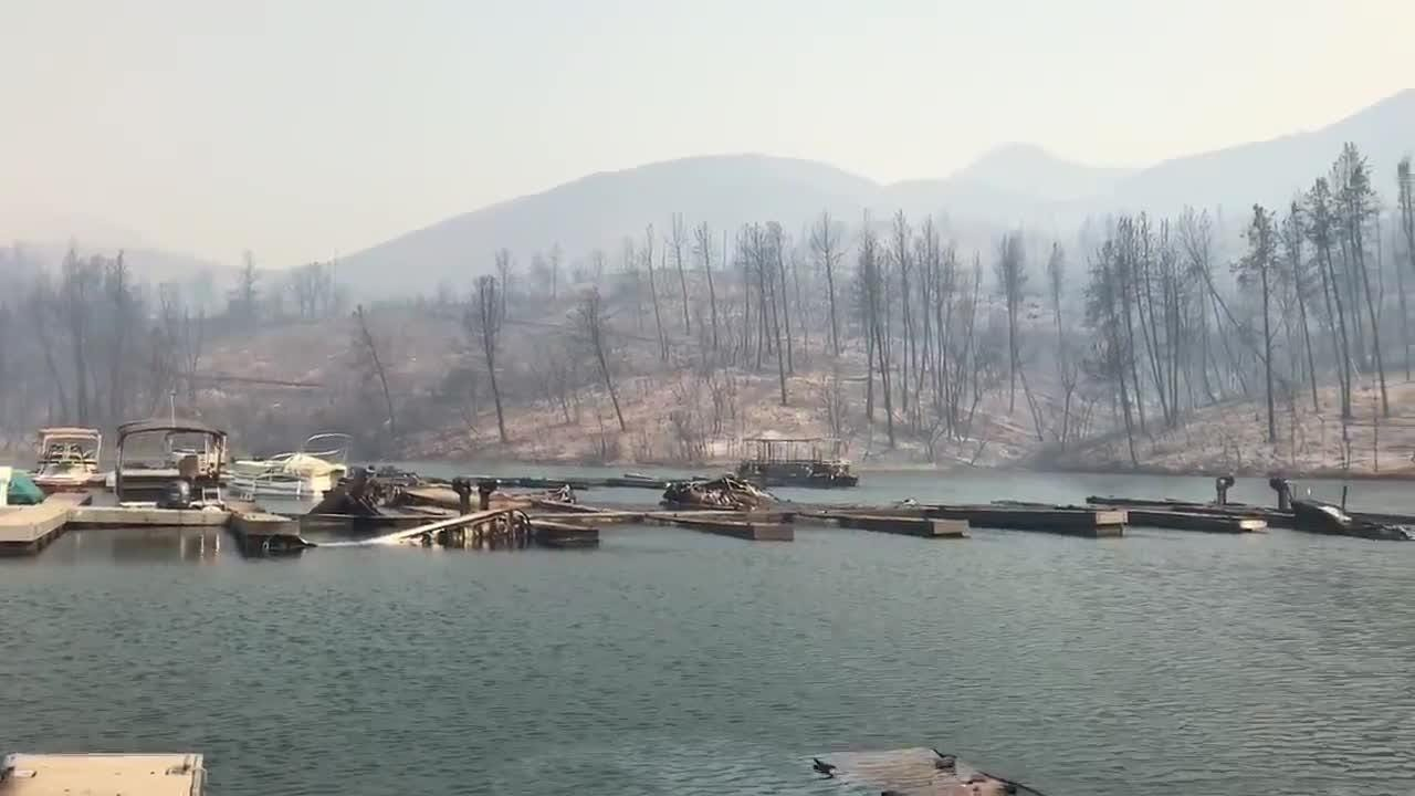 Carr Fire destroyed boats out at Oak Bottom Marina in Whiskeytown.