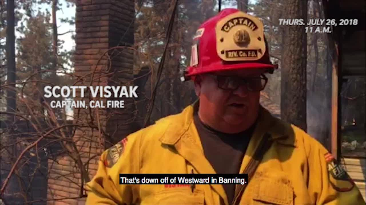 CAL FIRE Captain Scott Visyak gives an update to the Cranston Fire on July 26, 2018 at 11 a.m.