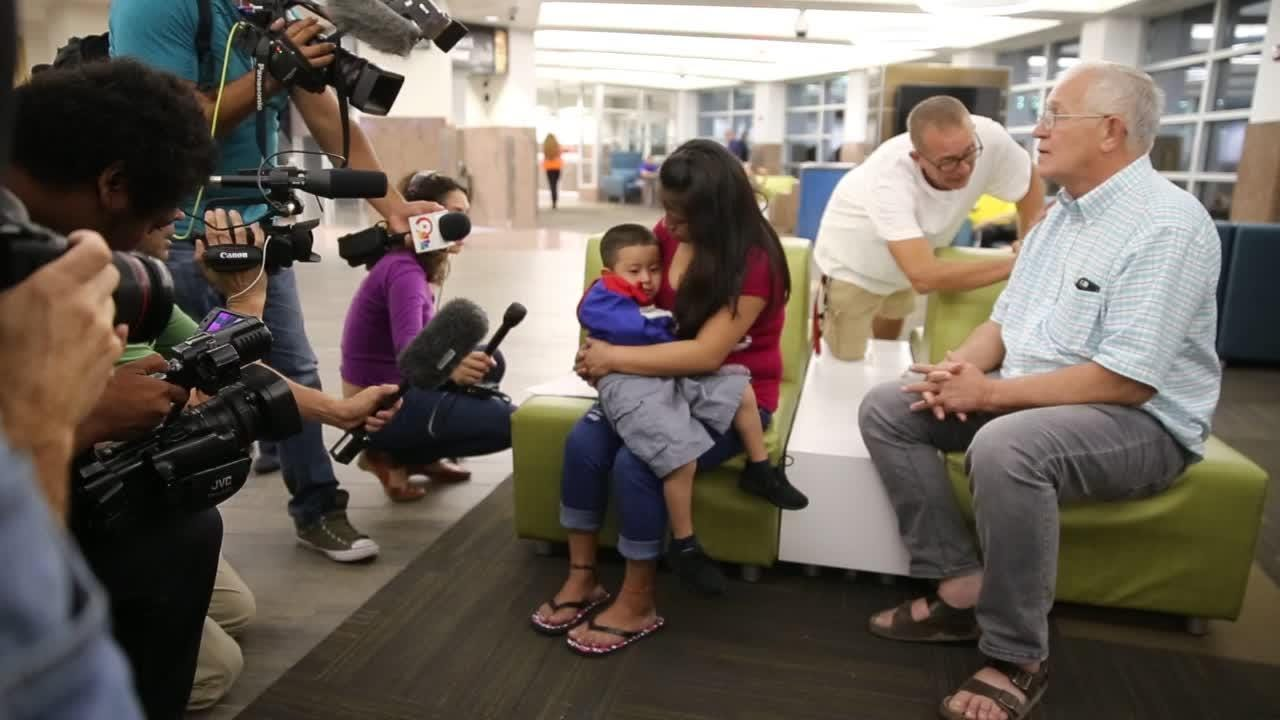 Mother and Son Reunited At El Paso Airport After 6 Week Separation