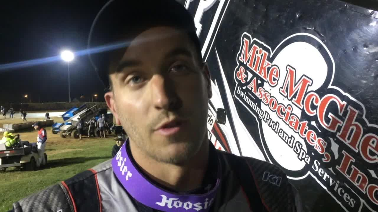 Ryan Smith held off Bill Balog to win the combined All Star Circuit of Champions / IRA Sprints feature at Angell Park Speedway in Sun Prairie.