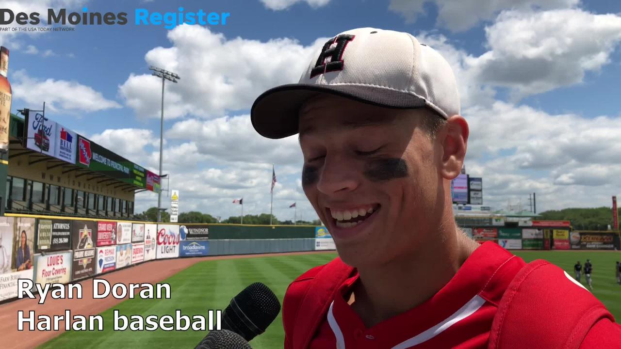 Ryan Doran, Harlan's starting first baseman, hit a three-run homerun to help the Cyclones to a 7-6 win over Waverly-Shell Rock on Friday in the Class 3A state semifinals.