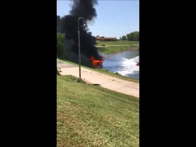 """Robert and Yvonne's houseboat, """"Dream Catcher,"""" caught fire after leaving Clarksville Marina dock on Friday."""