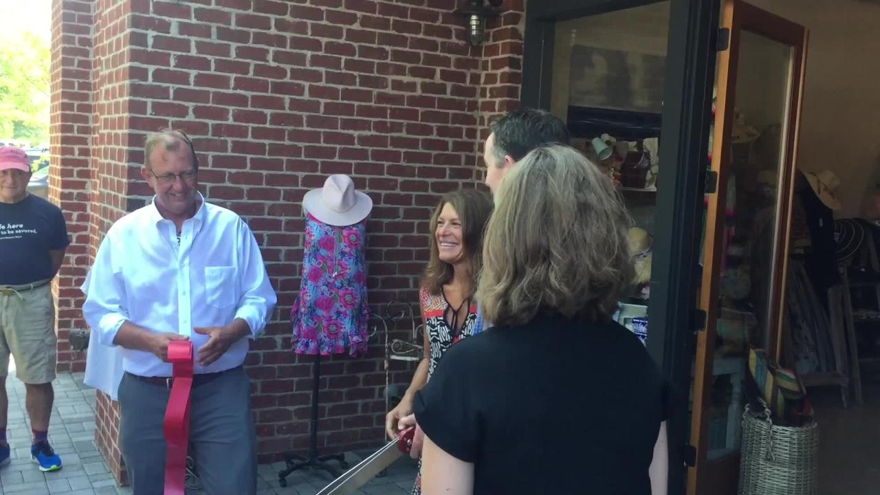 Gov. Ralph Northam cut ribbons on 14 new Cape Charles businesses on Friday.