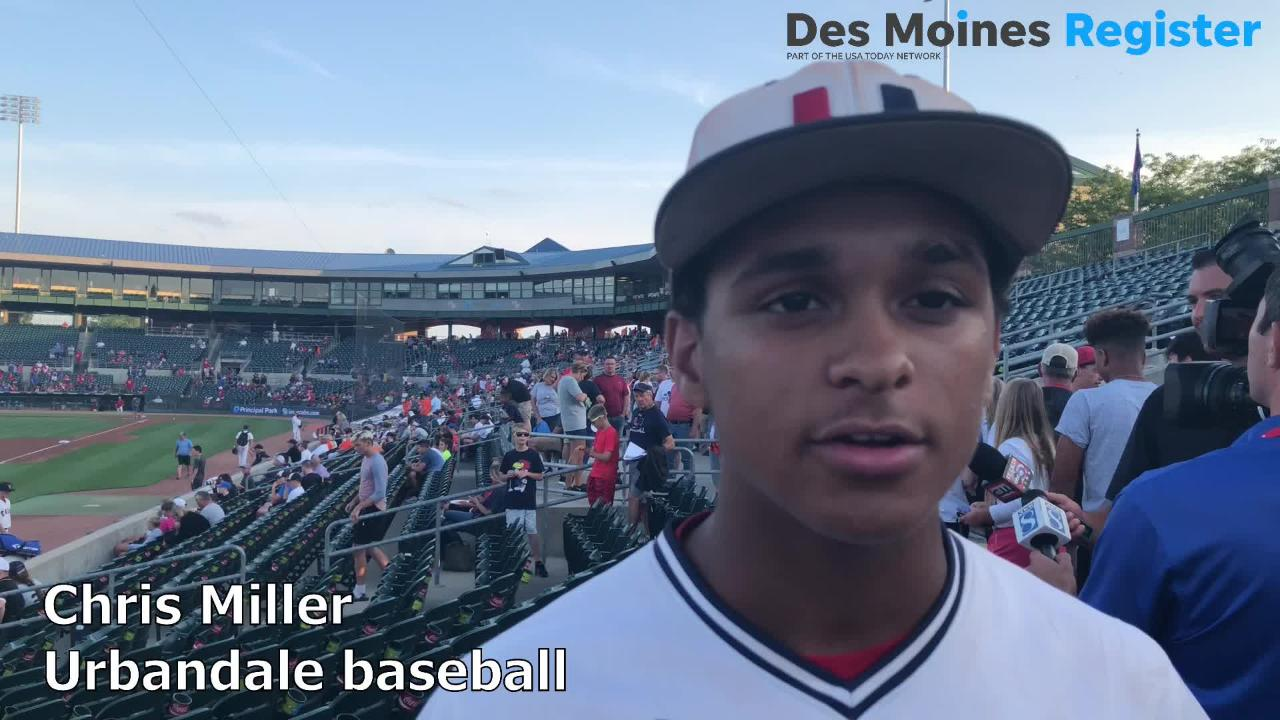Chris Miller, an outfielder for the Urbandale baseball team, talks after the J-Hawks beat Western Dubuque in the Class 4A state semifinals on Friday.