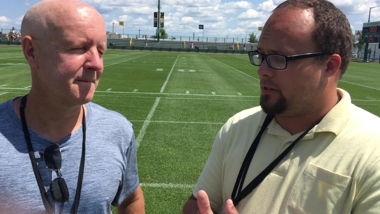 Pete Dougherty and Ryan Wood analyze the feisty first practice in pads at Packers training camp.