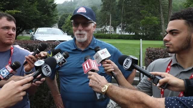 Detroit Tigers Hall of Famer Jack Morris talks to reporters during the Hall of Fame Golf Tournament in Cooperstown, N.Y. on Saturday, July 28, 2018.