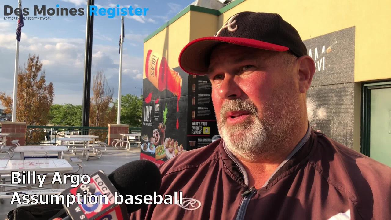 Billy Argo, Assumption's baseball coach, talks after the Knights beat Harlan, 11-1, for the Class 3A state title on Saturday.