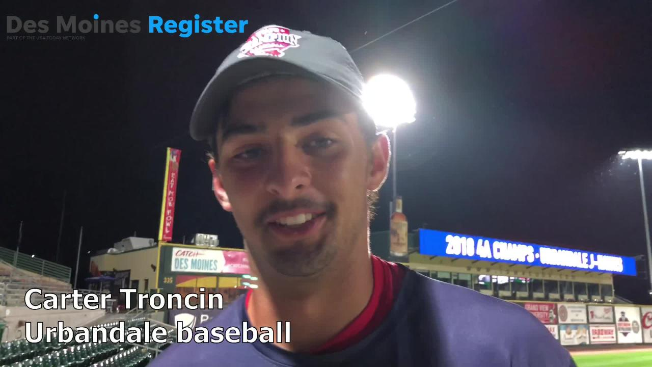Carter Troncin, a senior on the Urbandale baseball team, talks after helping the J-Hawks to the Class 4A state baseball title on Saturday.