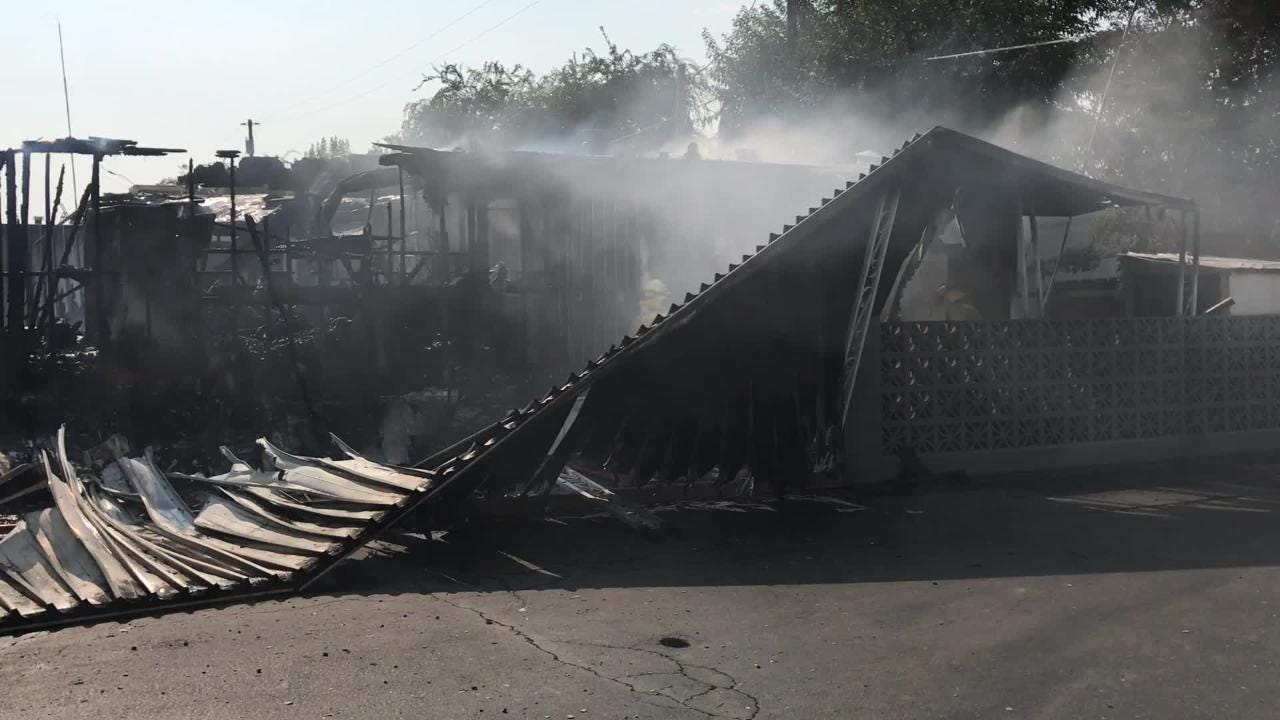 A mobile home was destroyed by flames on Sunday afternoon.