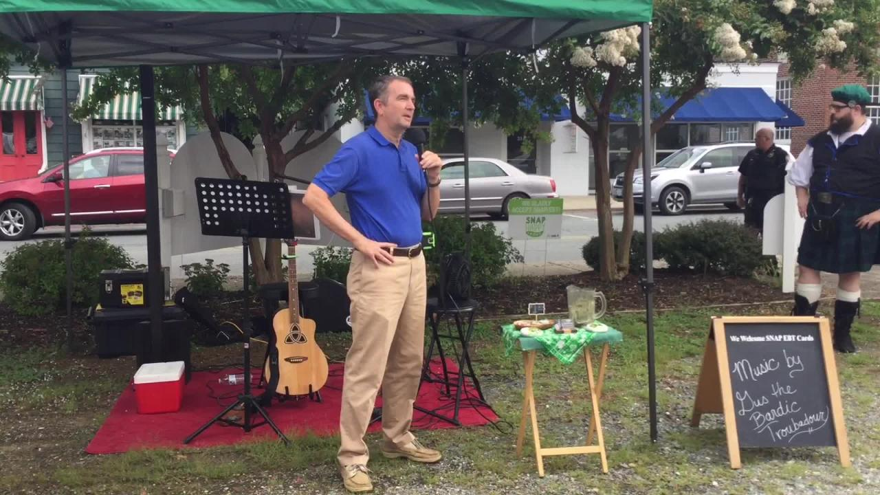 Gov. Ralph Northam kicked off Virginia Farmer's Market Week by visiting the Onancock Market.