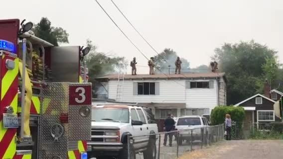 One person was taken to a hospital with burn injuries Monday, July 30, 2018 as a residence burned in the 600 block of Grand Canyon Boulevard in Reno.