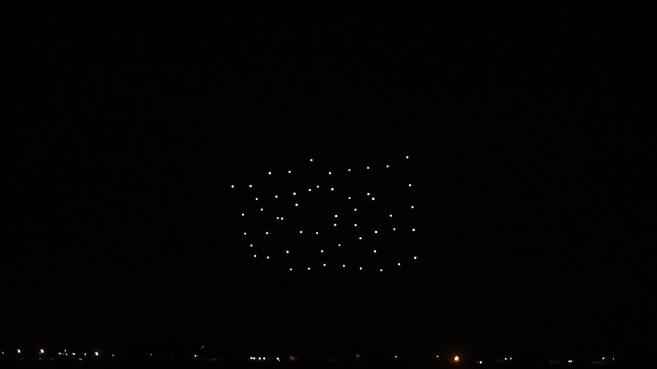 Great Lakes Drone Co. performs Thursday, July 26, 2018, during the night air show at EAA AirVenture 2018 at Wittman Regional Airport in Oshkosh.