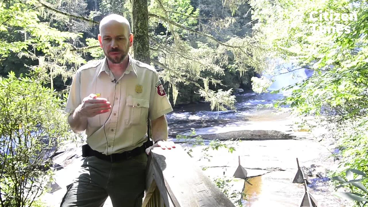 Bruce MacDonald, a North Carolina Forest Service ranger talks about safety around waterfalls at DuPont state recreational forest