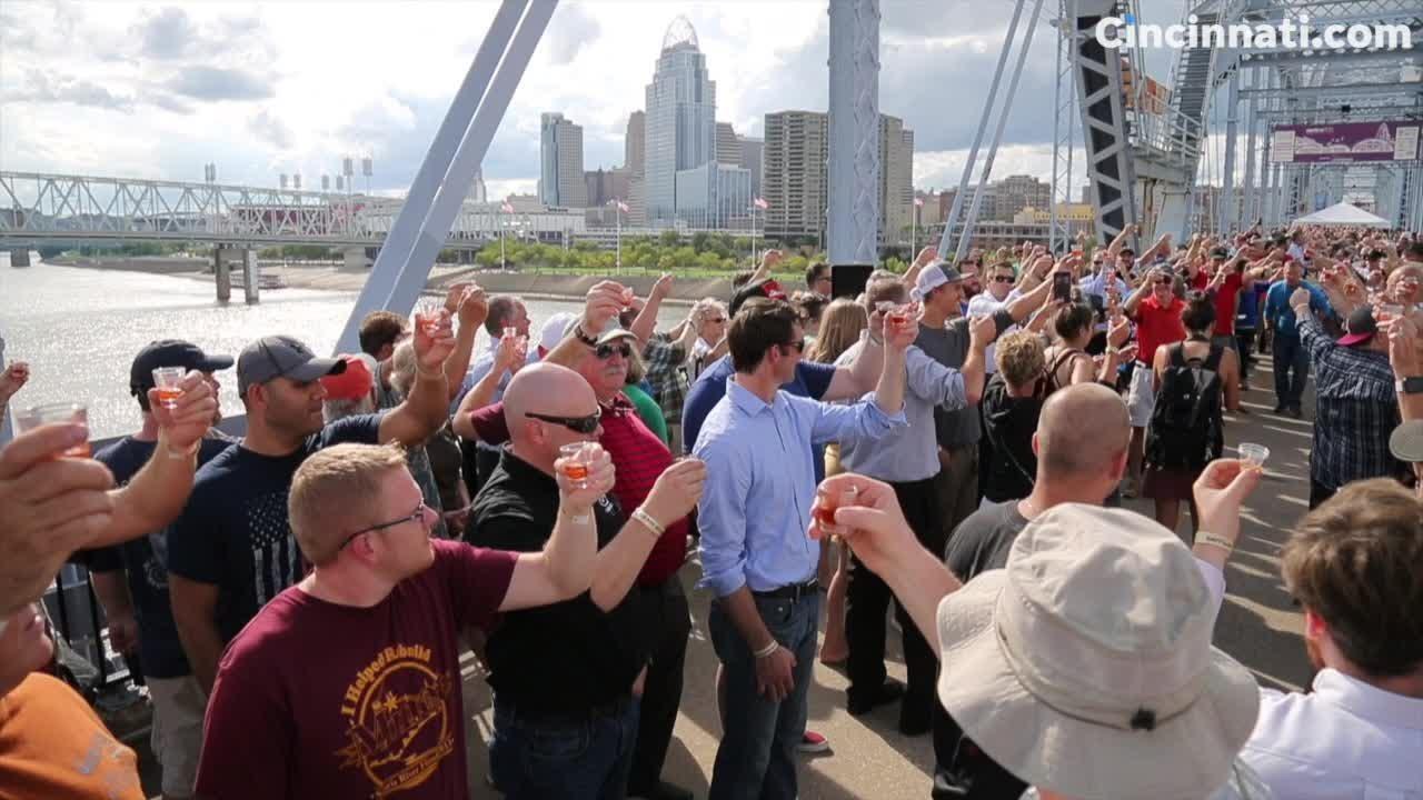New Riff Distillery hosts 'world's biggest bourbon toast' on the Purple People Bridge