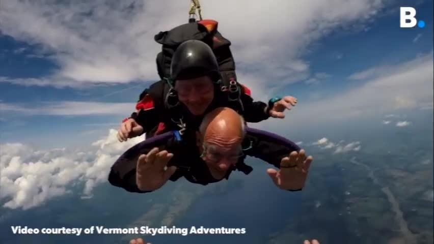 Bruno Trahan celebrated his 90th birthday by jumping out of a plane with his family on Friday, July 27, 2018, at Vermont Skydiving Adventures.