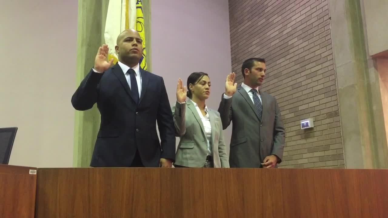 Kyle J. Arbona, Kaylene Cosme, and Daniel Miller  Jr. are sworn in Aug. 2, 2018 during a Vineland City Hall ceremony.