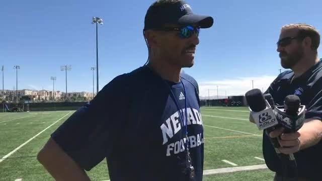 Second-year Wolf Pack football coach Jay Norvell is pleased with where his team is at after the first fall camp practice.