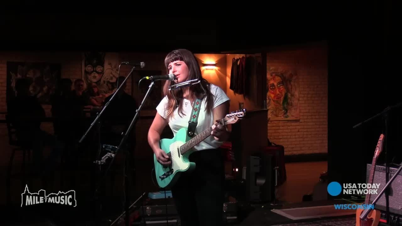 St. Louis, MO artist, Beth Bombara, performs at the Gibson Music Hall during the Mile of Music festival.