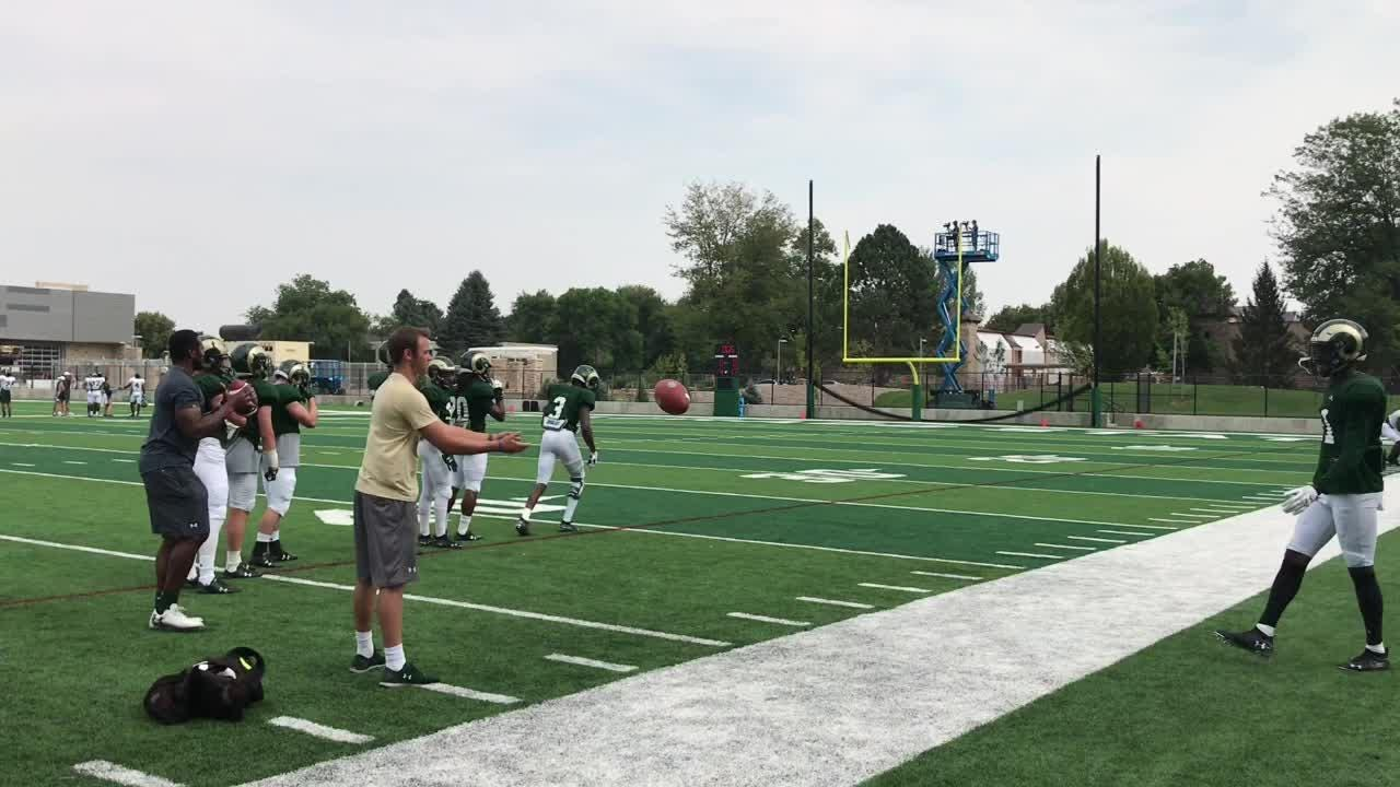 A brief look at one of the drills Colorado State University's football receivers do each day in practice