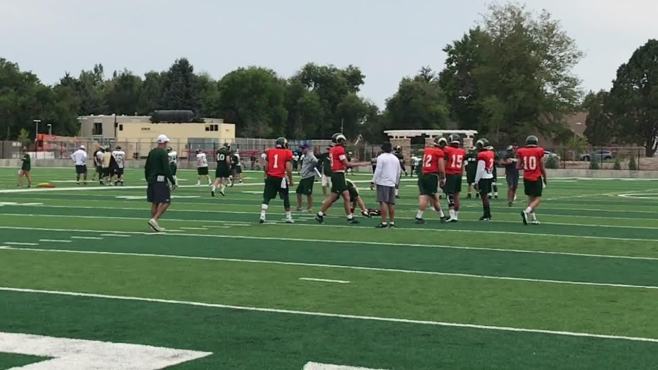 Rams coach Mike Bobo says he's eager to see how his new quarterback handles the passing game in first scrimmage Saturday