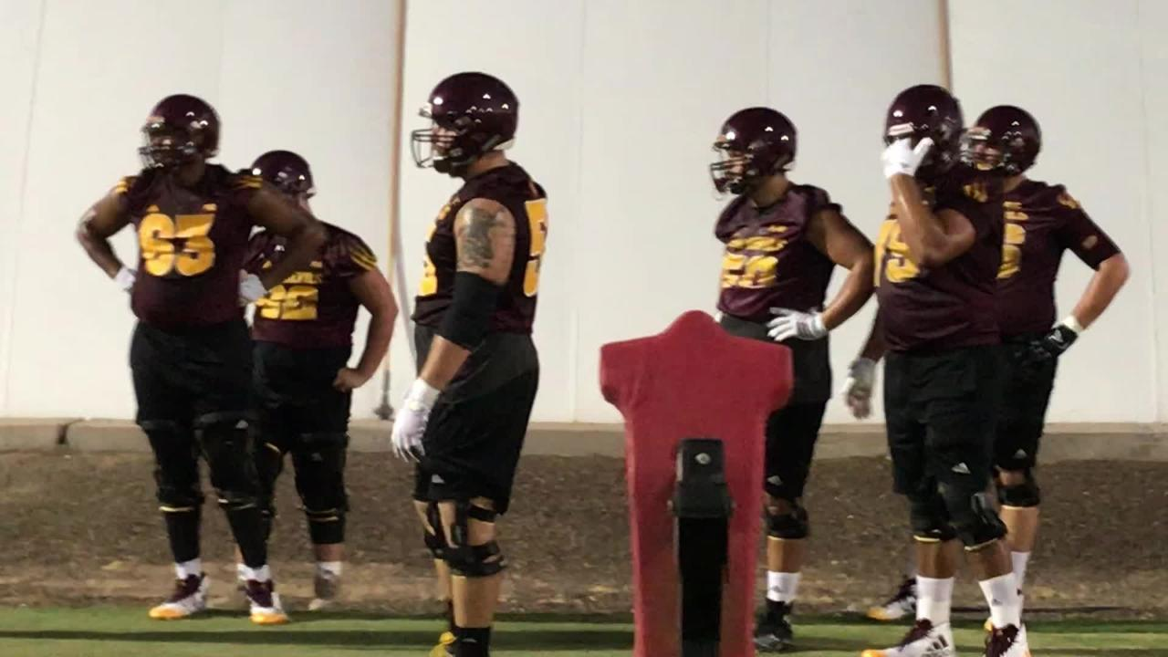 ASU's offensive line includes transfers Casey Tucker (55) from Stanford and Roy Hemsley (63) from USC