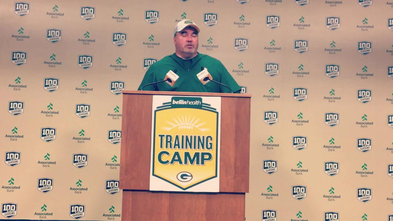Mike McCarthy speaks about the thought process behind the change in competitive periods during training camp