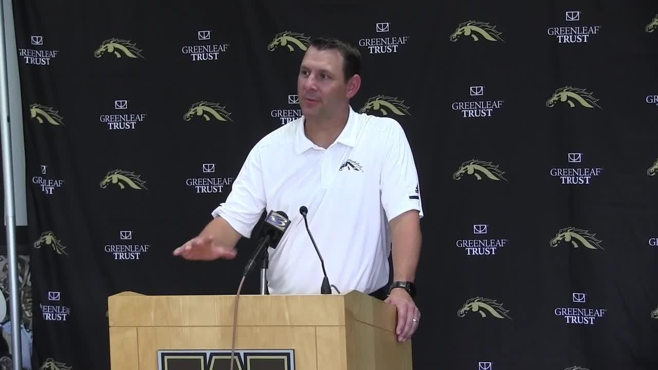 Second-year head coach Tim Lester talks at Western Michigan University Football Media Day.